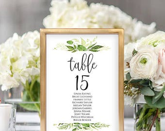 Wedding Seating Chart Template Seating Cards Seating Chart Sign Editable Seating Chart Printable Templates Editable PDF Signs DIY Greenery