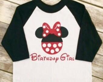 Minnie Birthday Girl Raglan Baseball Shirt , Disney Minnie Raglan Birthday Baseball Tees Birthday Girl
