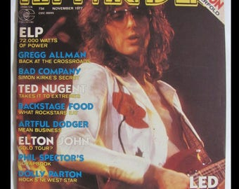 LED ZEPPELIN 11/1977 Hit Parader Magazine Cover & 5-Page Color Article FREE S+H