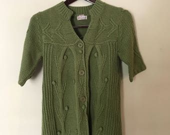 Short Sleeve Olive Green Unique Boho Artsy Sweater