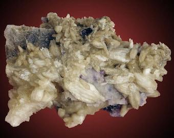 Calcite on Fluorite; Denton Mine, Cave-In-Rock, Hardin Co., Illinois, USA  --- fine and rare minerals