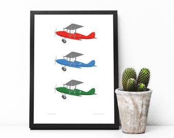 Kids wall art, Biplanes, Airplanes, Illustration, Kids Room Art, Wall Art, Aeroplanes, Aviation, Art print, Nursery print