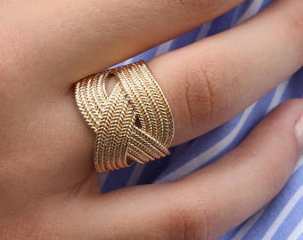 RACHEL RING - Braided thick ring, gold plated