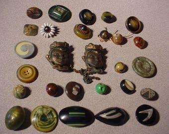 28 Antique BUTTON Lot - Celluloid etc - Mixed Medium