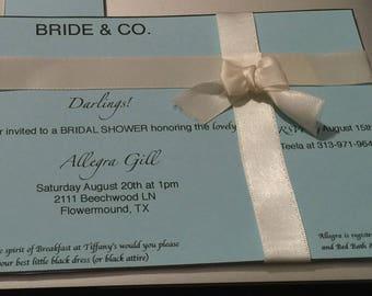 Bridal Shower Invitations - Breakfast at Tiffanys