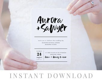 Simple Wedding Invitation INSTANT DOWNLOAD, Wedding Invite, DIY Printable Invitation, Templett, Editable pdf, Modern, Calligraphy, Sawyer
