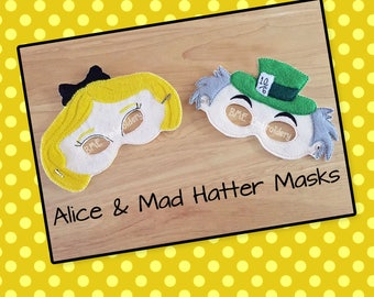 Alice & Mad Hatter Inspired Felt Masks- Child's Dress Up- Imaginary Play- Birthday Party Favor-Photo Shoot-Theme Party-Alice in Wonderland