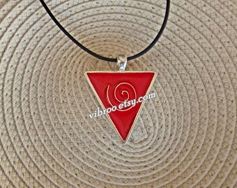 Triangle Red Enamel Spiral Stainless Steel Pendant Adjustable Length Necklace
