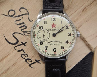 Comanders watch,White dial,Men's Vintage Watch, Molnija Watch ,Soviet Watch , Molnia Watch, Vintage Watch , Watch Gift, Gift for Men