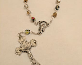 Single decade auto or pocket rosary handmade with 6mm multicolored Czech beads