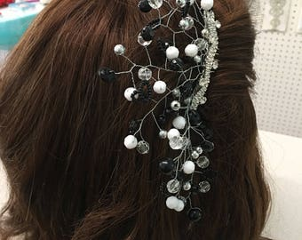 Large bridal or special occasion beaded hair comb