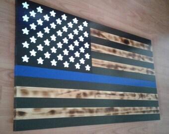Thin Blue Line Rustic American Flag