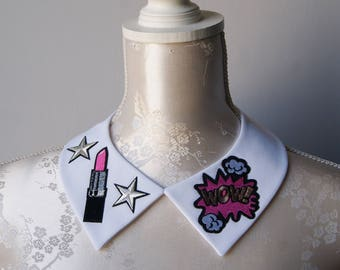 White collar necklace with embroidery patches silver pink detachable peter pan collar removeable accessories for women