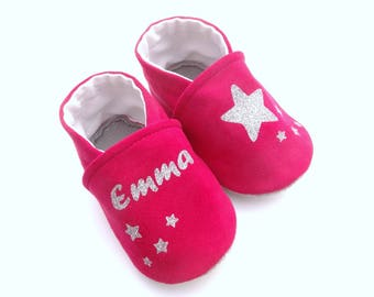 Fuchsia leather slippers with stars and baby's name - soft kid leather customizable baby booties