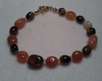 Carnelian and Tiger Eye Beaded bracelet
