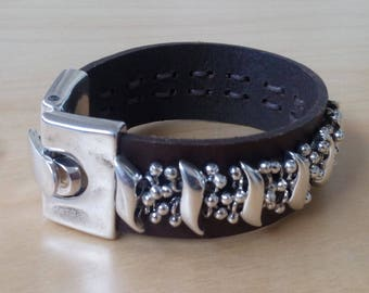 Leather strap and metal 15 microns of silver - Ciclon - claw clasp - boho chic - hippie chic - Ibiza - boho - gypsy style - leather