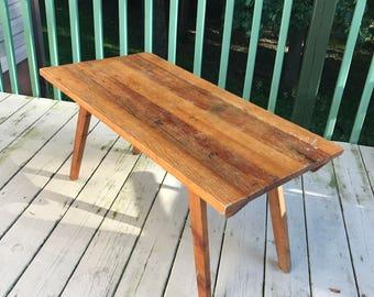 Vintage Wormy Chestnut Handmade Farm Table Folk Art Patina Rustic Coffee Table