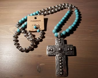 Turquoise Beaded Cross Necklace w/ bead earrings
