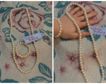 Long Pearl Necklace and Bracelet set