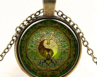 Yin & Yang tree Cabochon necklace