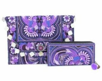 Lavendar Love Clutch and Wallet Set