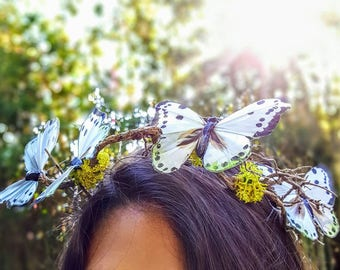 Woodland fairy crown/wood crown/butterfly crown/branch crown/maternity shoot/festival headpiece/bohemian crown/flower girl headpiece