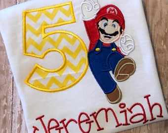 Mario Embroidered Birthday Shirt **Fast Shipping**