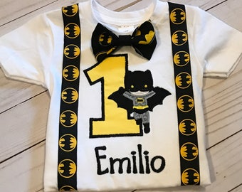 Batman Embroidered Birthday Shirt with Bow Tie and Suspenders **Fast Shipping**