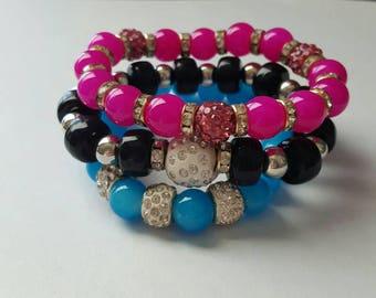 Pink, black and teal beaded bracelet set