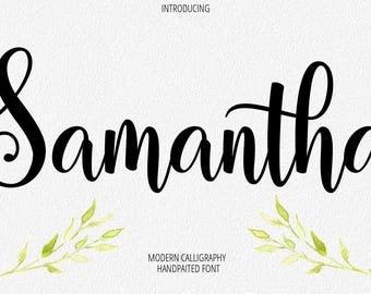 Digital font Calligraphy Handwritten Script Wedding Watercolor Instant Download fonts Samantha