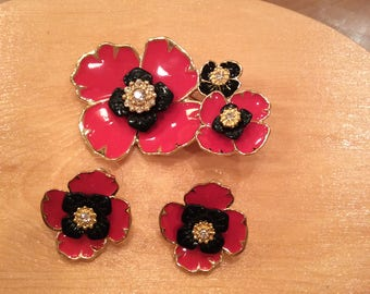 Flower pin and earring set