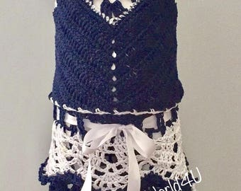 Navy Blue crocheted Pineapple skirt and Halter Top