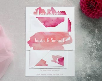 Pink watercolour wedding invitation with matching rsvp, pink ombre watercolour wedding invitation, ombre watercolour wedding stationery set