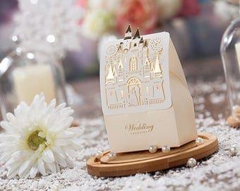 bronzing wedding favor box fairy tale castle wedding happy ever afterset