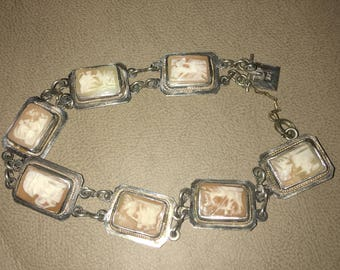 Sterling silver Cameo bracelet Chariots, hand carved