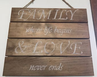 Wooden Wall Sign With Family Quote