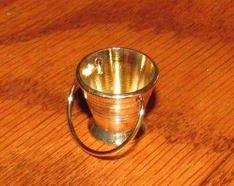 Vintage Miniature Brass Tone Bucket Pail with Handle, New Old Stock