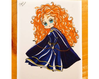 Drawing of Merida Chibi style with his bow and arrows, pretty red Celtic Princess following WISPs, unique and original