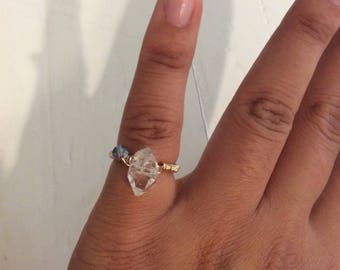 Manifest Pure Light & Advanced Lightwork Herkimer Diamond gold filled wire wrap ring size 5