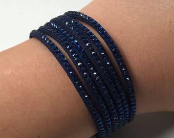 Velvet wrap bracelet rhinestone wristband