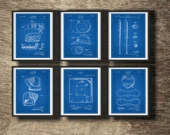 Blueprint etsy baseball blueprint set of 6 prints baseball blueprints posters baseball blueprints wall decor malvernweather Gallery
