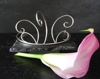 Contemporary Bridal Tiara Hallmarked Sterling Silver