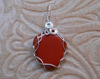 Brilliant Red Jasper Wire Wrap Pendant