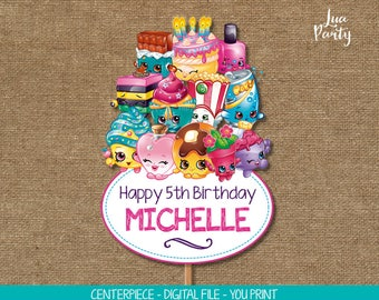 Shopkins centerpiece print yourself, Shopkins birthday centerpeice, Shopkins birthday toppers