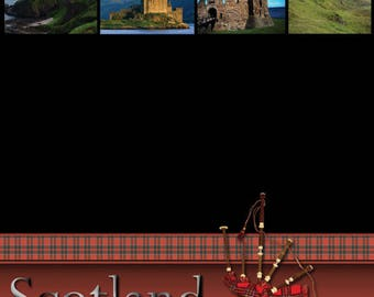 """Scotland Set of 7 Custom Selected 12"""" x 12"""" Scrapbook Papers Travel Themed Vacation Papers - Our Favorites"""