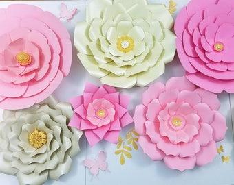 Large paper flowers nursery wall decor. Large pink flowers wall. Nursery gold flowers wall. Girls room flowers decor. Cream flowers wall.