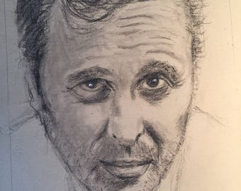 Portrait of Gilbert Melki, charcoal  on Craft paper, A4, 2017