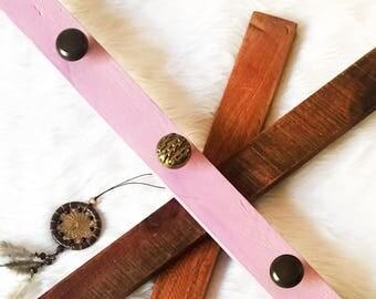Pink-Purple Handmade Knob Rack // Jewelry, Bag, Coat & Accessories Organizer // Reclaimed Hardwood