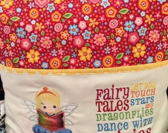 Beautiful hand made welsh  embroidered book cushion pillow perfect for books or pjs