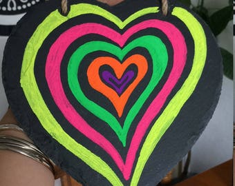 Slate rainbow heart